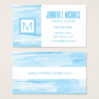 Abstract blue watercolor background, texture. business card