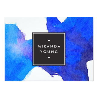 "Abstract Blue Watercolor Flat Notecard 4.5"" X 6.25"" Invitation Card"