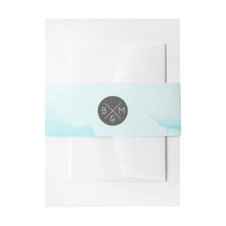 Abstract Blue Watercolor |  Invitation Belly Band
