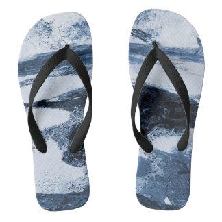 Abstract Blue White Black Swirl Flip Flops