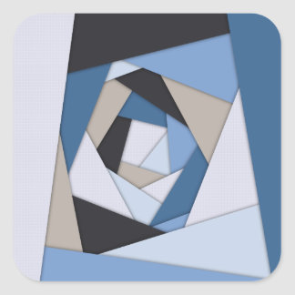 Abstract Blues Geometric Layers Square Sticker