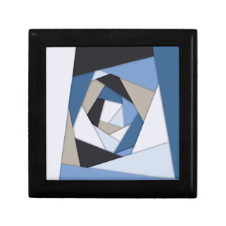 Abstract Blues Geometric Layers Trinket Boxes