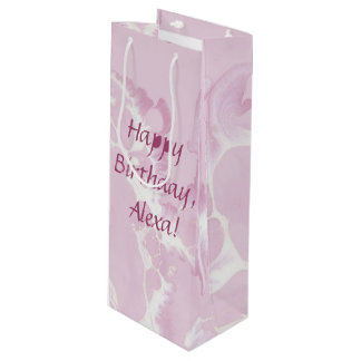 abstract blush pink paint pattern wine gift bag