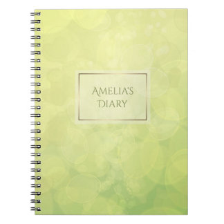 Abstract bokeh green lime texture. Name. Spiral Notebook