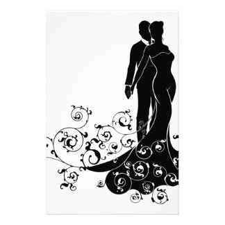 Abstract Bride and Groom Wedding Silhouette Personalized Stationery