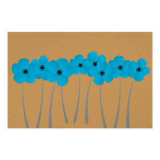 Abstract Bright Blue Anemones Impression Camel Poster