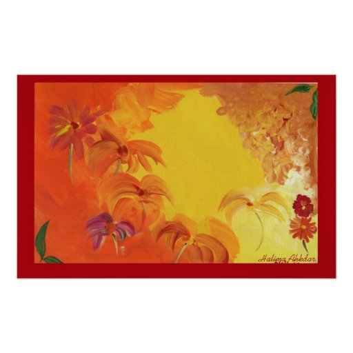Abstract Bright Flowers #4 Halima Ahkdar Poster