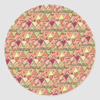 Abstract Bright Orange Pink Purple Aztec Triangles Classic Round Sticker