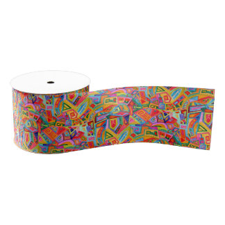 Abstract bright watercolor geometric pattern grosgrain ribbon