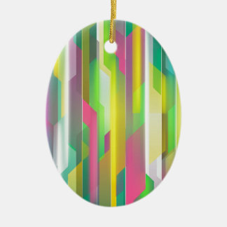 Abstract Bright Yellow Green Pink Ceramic Oval Ornament