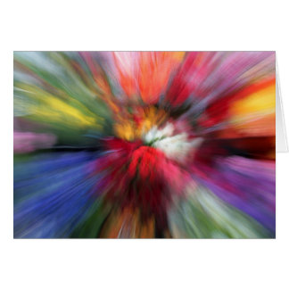 Abstract brightly-coloured flowers blank card