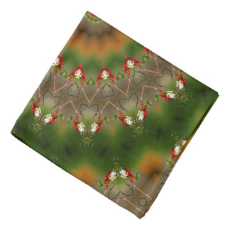Abstract Brown And Green Kaleidoscope Pattern Bandanna