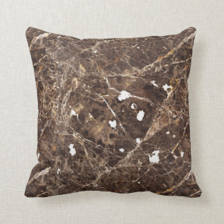 Abstract Brown And White Marble Stone Throw Pillow