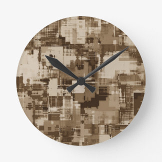 Abstract Brown Camo pattern Round Clock