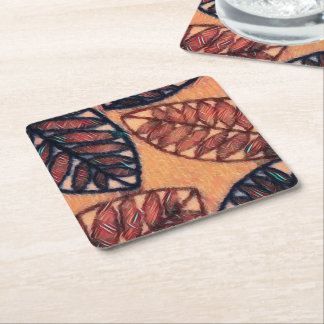 Abstract Brown Leaf Textured Design Coaster