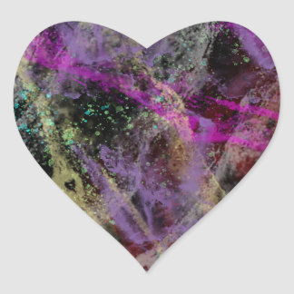 Abstract Brush Strokes Design Heart Sticker