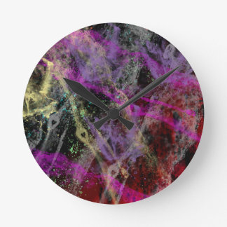 Abstract Brush Strokes Design Round Clock