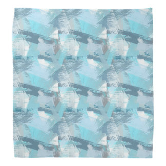 abstract brush strokes teal pattern. bandana