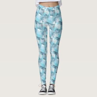 abstract brush strokes teal pattern. leggings