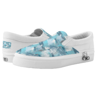 abstract brush strokes teal pattern. Slip-On sneakers