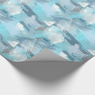 abstract brush strokes teal pattern. wrapping paper