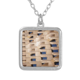 Abstract building silver plated necklace