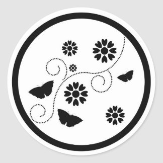Abstract butterflies floral design stickers, gift classic round sticker
