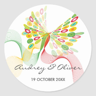 Abstract Butterfly Artistic Modern Wedding Sticker