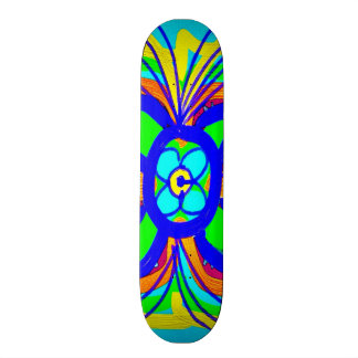 Abstract Butterfly Flower Kids Doodle Teal Lime Skateboard Deck