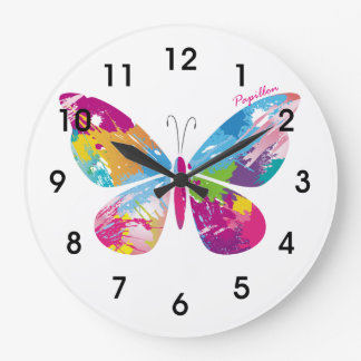 Abstract Butterfly Large Clock