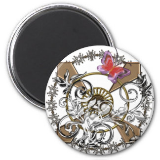 Abstract butterfly 2 inch round magnet
