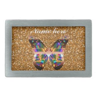 Abstract Butterfly On Copper Glitter Belt Buckle