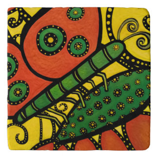 Abstract Butterfly Orange Yellow & Green Trivet