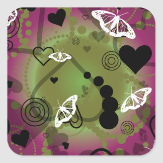 Abstract Butterfly Sphere Purple Green Square Sticker