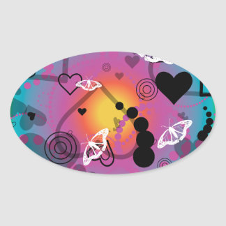 Abstract Butterfly Sphere Rainbow Oval Sticker