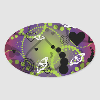 Abstract Butterfly Sphere Red Green Purple Oval Sticker