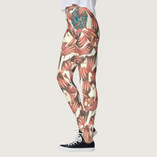 Abstract by Valerie in Red and Blue Leggings