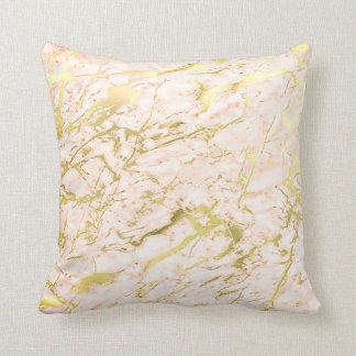 Abstract Candy Coral Gold Pastel Marble Luxury Throw Pillow