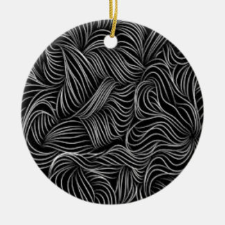 Abstract Cascading Black and White Pattern Ceramic Ornament