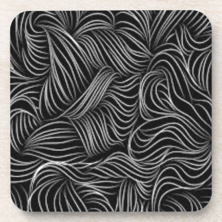 Abstract Cascading Black and White Pattern Coaster