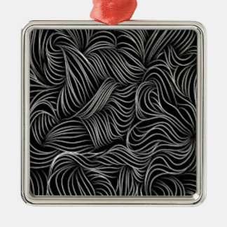 Abstract Cascading Black and White Pattern Metal Ornament