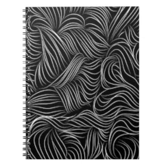 Abstract Cascading Black and White Pattern Notebooks
