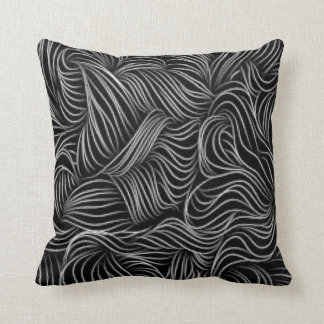 Abstract Cascading Black and White Pattern Pillow