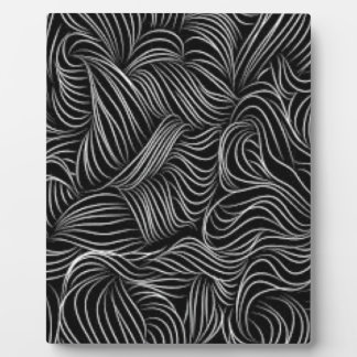 Abstract Cascading Black and White Pattern Plaque