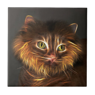 Abstract cat face tile