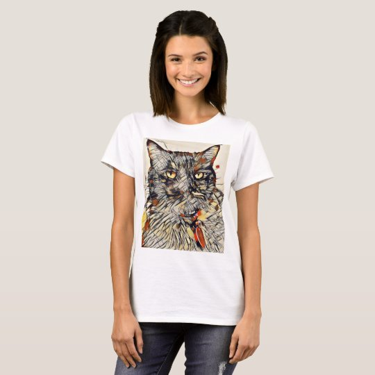 Abstract Cat T-Shirt, Black or White T-Shirt