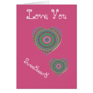 Abstract Cerise Heart Love You Card