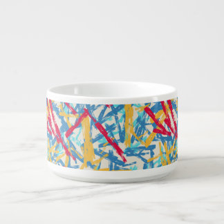 Abstract chalk bright painted pattern chili bowl
