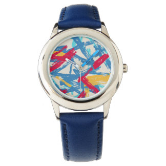 Abstract chalk bright painted pattern wristwatch