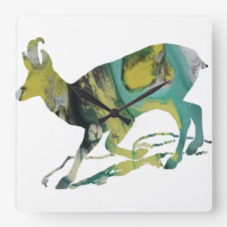 Abstract Chamois Silhouette Square Wall Clock